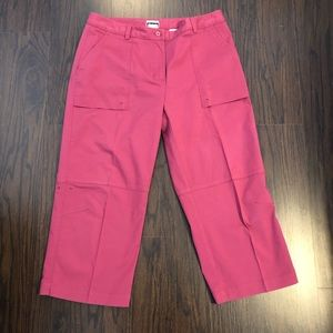 Adidas stretch polyester capris pink size 14